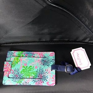Lilly Pulitzer Luggage Tag NWT Leather Sea Weed